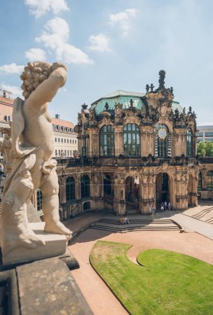 DRESDEN, GERMANY - JULY 24, 2018: statues on famous Zwinger palace in Dresden, Germany