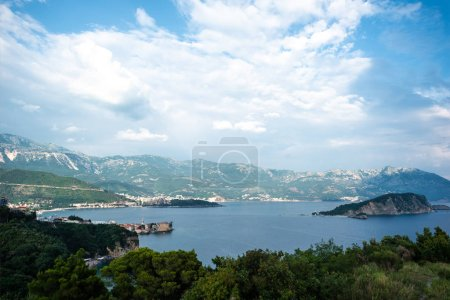 Photo for Beautiful view of adriatic sea and sveti nikola island (st nicholas island) in Budva, Montenegro - Royalty Free Image