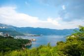 landscape of adriatic sea and coastal town in Budva, Montenegro