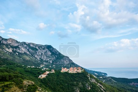 Photo for Houses on green hill near Budva town in Montenegro - Royalty Free Image