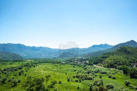 beautiful view of green valley and mountains in Montenegro