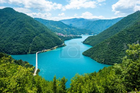 aerial view of road above Piva Lake (Pivsko Jezero) in Montenegro