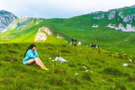Photo for Beautiful woman sitting near cows grazing on green valley in Durmitor massif, Montenegro - Royalty Free Image