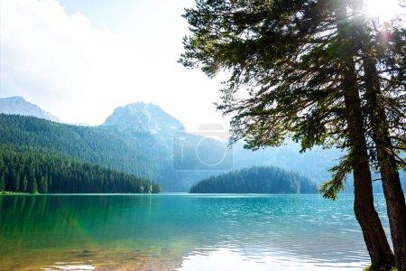 beautiful Bear Peak and glacial Black Lake in Montenegro