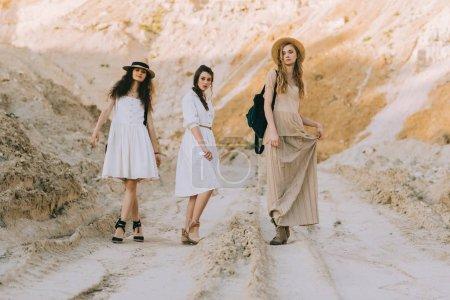 beautiful stylish girls in elegant dresses posing in sandy canyon