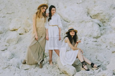 beautiful friends in elegant dresses and straw hats posing together in sandy canyon
