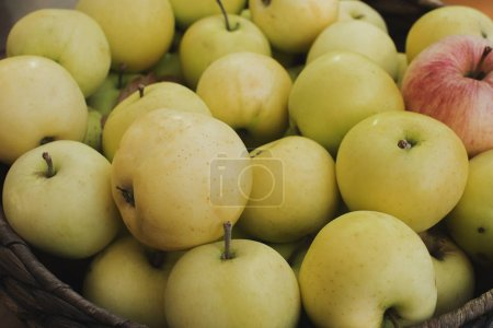 Photo for Ripe apples in wooden basket - Royalty Free Image