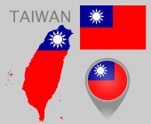 Colorful flag, map pointer and map of Taiwan in the colors of the Taiwanese flag. High detail. Vector illustration
