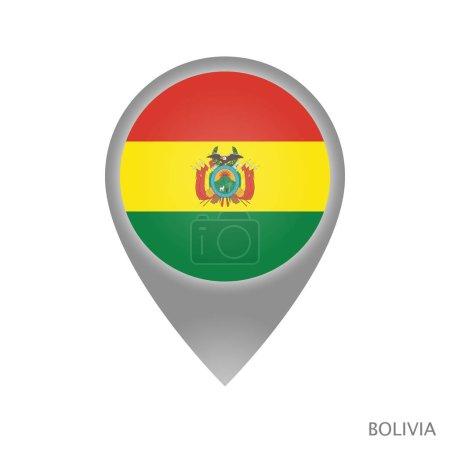 Illustration pour Pointeur de carte avec drapeau de la Bolivie. Icône de pointeur coloré pour la carte. Illustration vectorielle . - image libre de droit