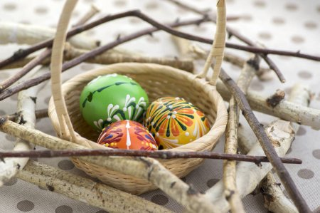 Three colorful painted Easter eggs in brown wicker basket on branches, traditional Easter still life, painted flowers, wooden bird nest