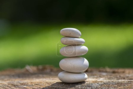 Photo pour Cairn blanc de cinq pierres à la lumière du jour, cailloux de lumière sur souche de bois devant fond naturel vert, zen comme sculpture, simplicité, harmonie et équilibre - image libre de droit