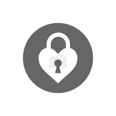 Heart, keyhole love icon flat...
