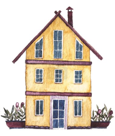 Photo for Watercolor cartoon house illustration - Royalty Free Image