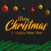 Christmas banner with balls and tree branch on dark wooden background