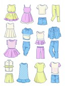 Set of summer clothes for girlsdresses skirts pants etcisolated on white background