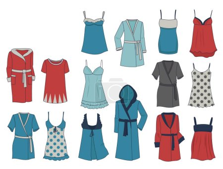 Illustration pour Ensemble de déshabillé et robes de femme, différents modèles, isolés sur fond blanc - image libre de droit