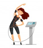 Ems training Girl doing fitness exercise in the gym Cartoon vector illustration