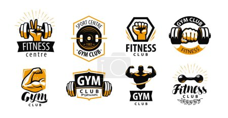 Illustration pour Gym, logo fitness ou étiquette. Sport, concept de culturisme. Illustration vectorielle isolée sur fond blanc - image libre de droit