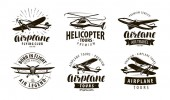 Aircraft airplane helicopter logo or icon transport label set vector