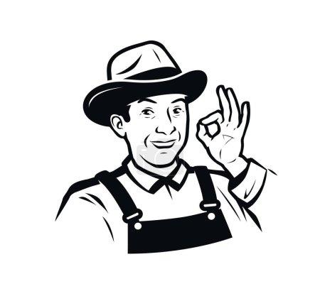 Farm, agriculture logo or label. Funny farmer vector illustratio