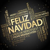Word cloud with text Merry Christmas in different languages in the middle one oversized and bold written in Spanish
