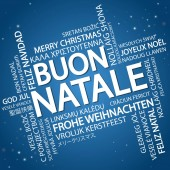 Word cloud with text Merry Christmas in different languages in the middle one oversized and bold written in Italian