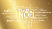 Word cloud with text Merry Christmas in different languages in the middle one oversized and bold written in French