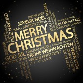 Word cloud with text Merry Christmas in different languages in the middle one oversized and bold written in English