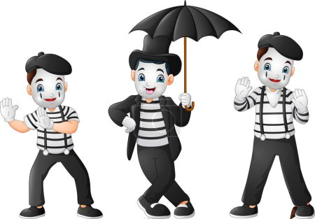 Set of Mimes Performing Different Pantomimes...
