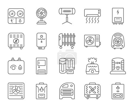 Hvac thin line icons set. Outline sign kit of climatic equipment. Fan linear icon collection includes hygrometer, humidifier, convector. Simple hvac black symbol isolated on white. Vector Illustration