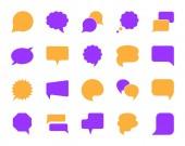 Speech Bubble simple color flat icons vector set