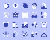 Insomnia simple color flat icons vector set