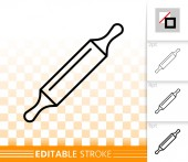 Rolling Pin simple black line vector icon