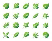Organic Leaf simple gradient icons vector set