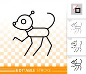 Robot Dog simple black line vector icon
