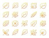 Organic Leaf simple color line icons vector set