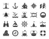 Marine black glyph icons vector nautical set