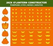 Halloween Pumpkin simple flat color icons vector set