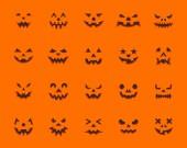 Pumpkin Face simple flat color icons vector set