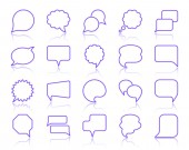 Speech Bubble simple color line icons vector set