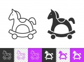 Horse Rocking simple black line vector icon