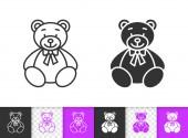 Bear Toy simple black line vector icon