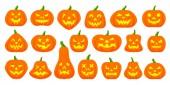 Jack O Lantern simple flat color icons vector set