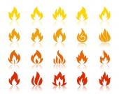 Fire silhouette flame icons bonfire vector set