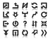 Arrow pointer simple black glyph icons vector set