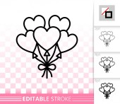 Heart Ballon love simple black line vector icon
