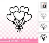 Heart Ballon love simple black line vector icon