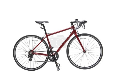 Photo for Isolated Women Sport Road Bike With Red Frame in Perspective View - Royalty Free Image