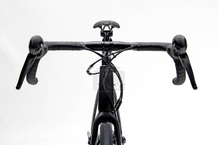 Photo for Closeup isolated of a black roadbike in front view - Royalty Free Image