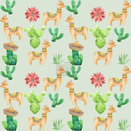 Foto de Patrón de llama y cactus acuarela - Imagen libre de derechos